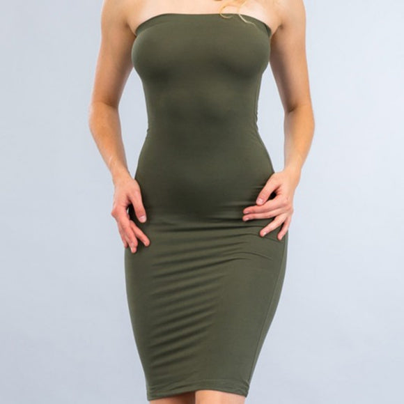 Olive Green Basic Knit Bodycon Midi Dress