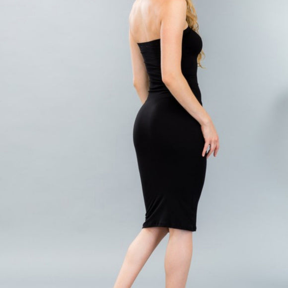 Black Basic Knit Bodycon Midi Dress