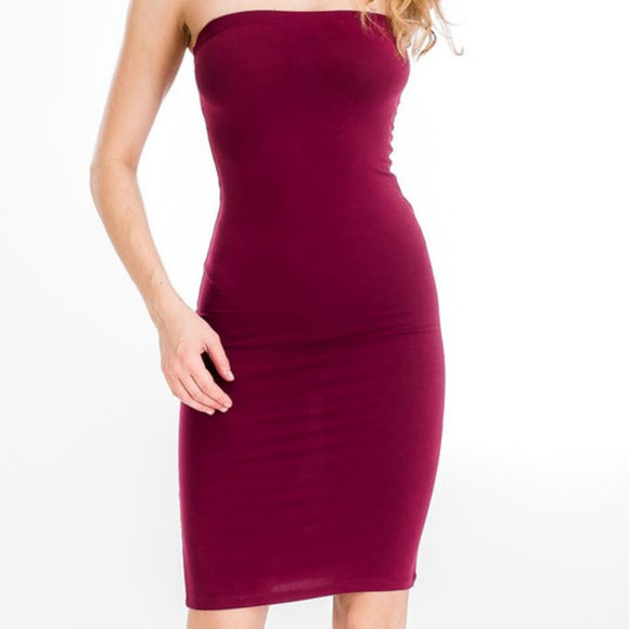Burgundy Basic Knit Bodycon Midi Dress