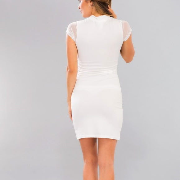 White Mesh Panel Knit Bodycon Mini Dress
