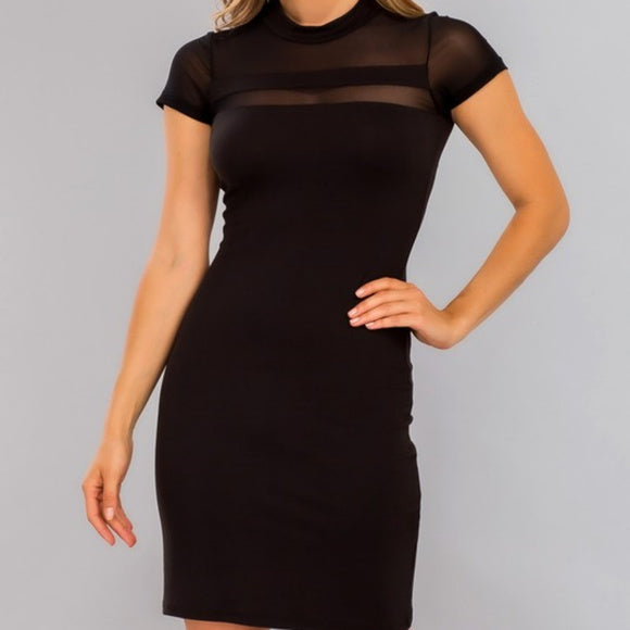 Black Mesh Panel Knit Bodycon Mini Dress