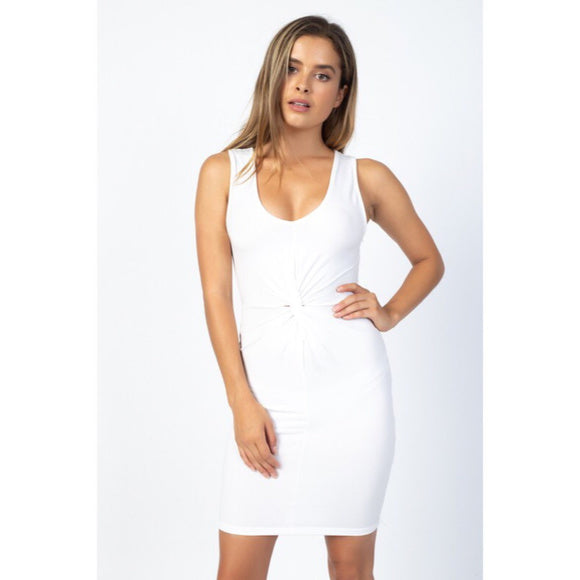 white Knot Front Knit Bodycon Mini Dress