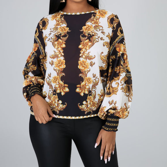 Vintage Print Long Sleeve Sheer Blouse