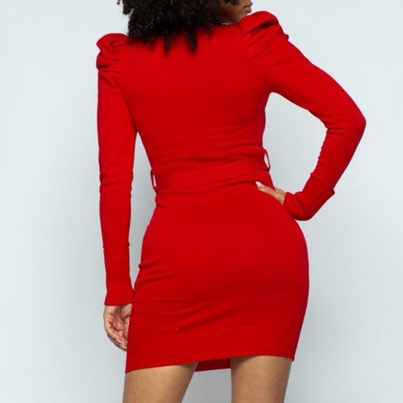 Stassi Red Puff Sleeve Mini Dress