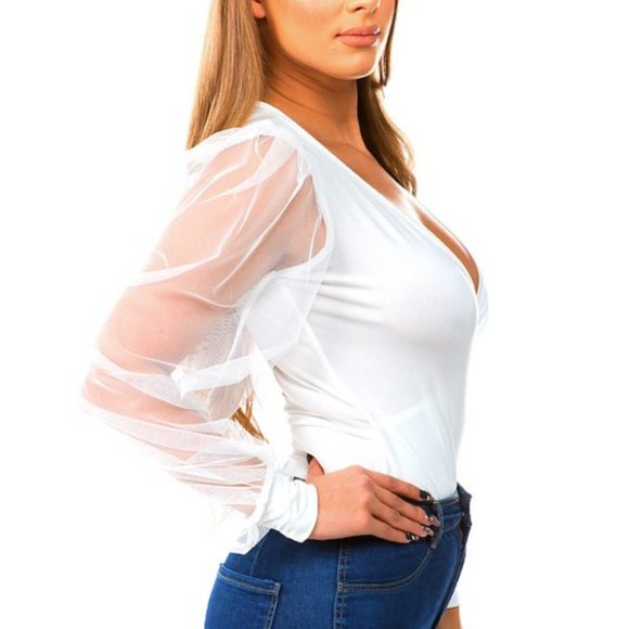 White Long Sleeve Mesh Sheer Sleeve Bodysuit