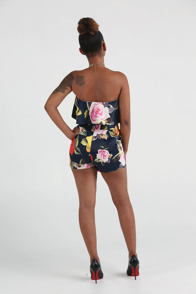 Bailey Navy Floral Two Piece Shorts Set