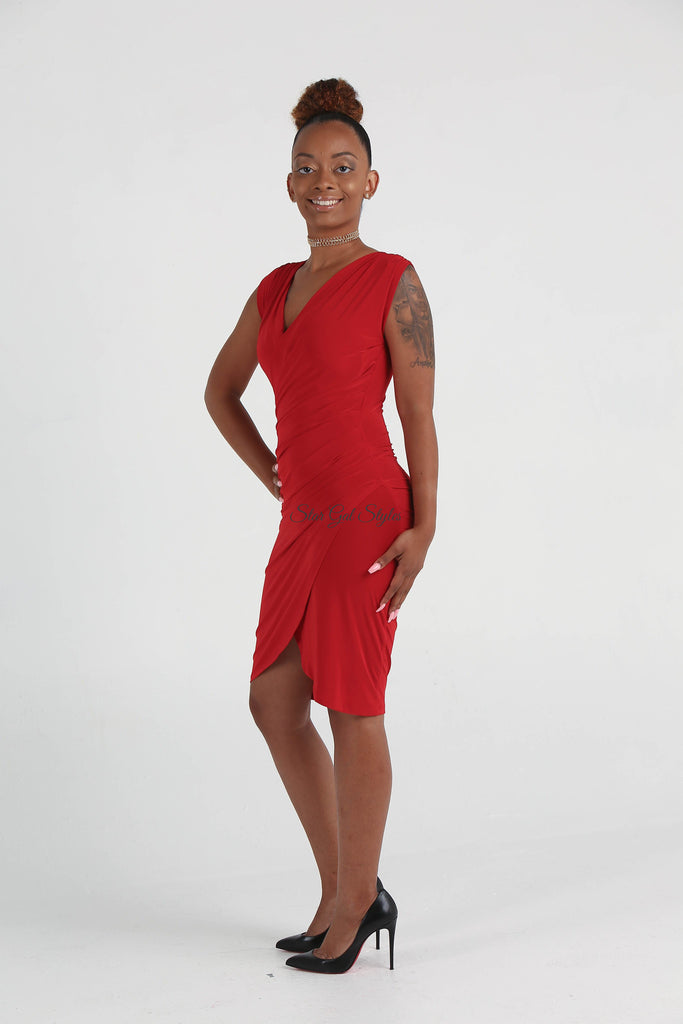 Riley Red V-Neck Faux Wrap Dress