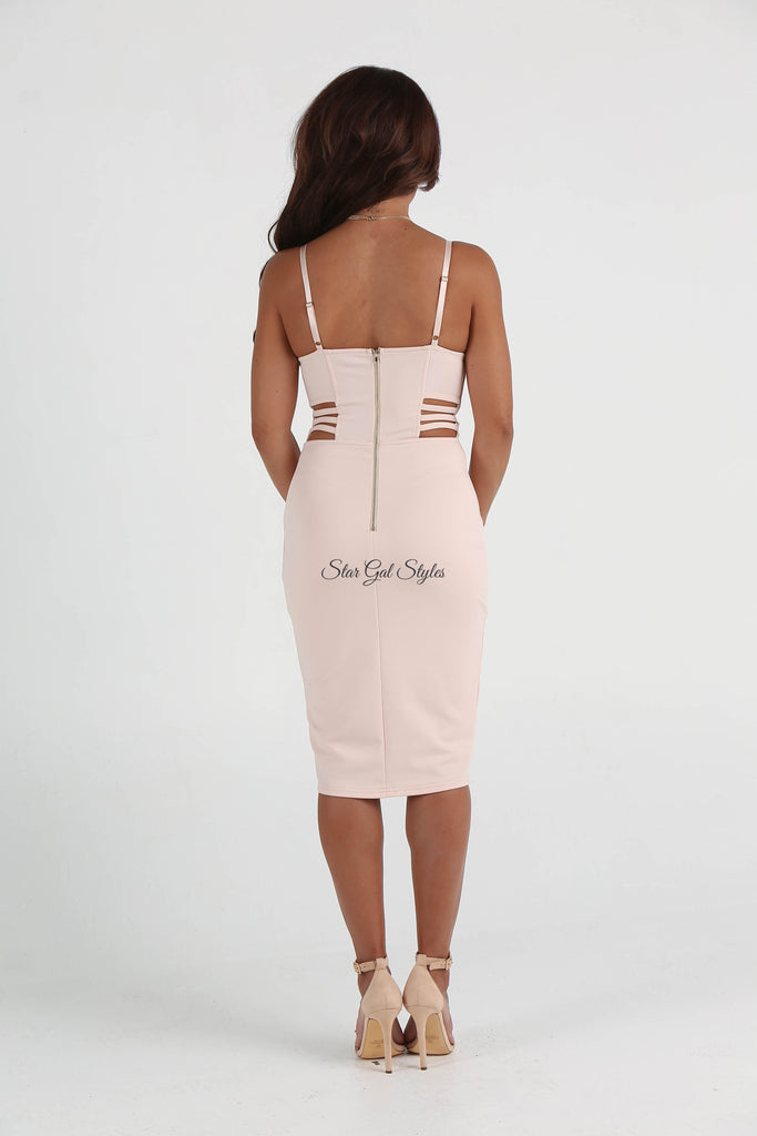 Nicole Light Peach Cut-Out Bustier Body-Con Dress