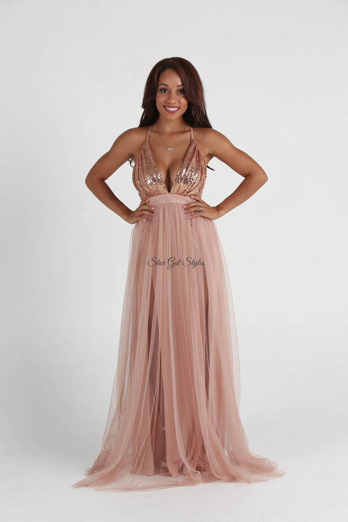 Alexis Rose Gold Tulle Sequin Double High Slit Maxi Dress