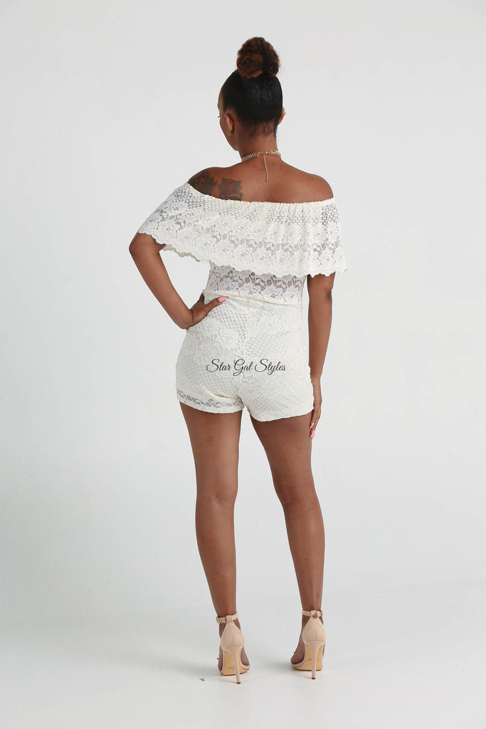 Aubrey Ivory Off-the-Shoulder Lace Romper