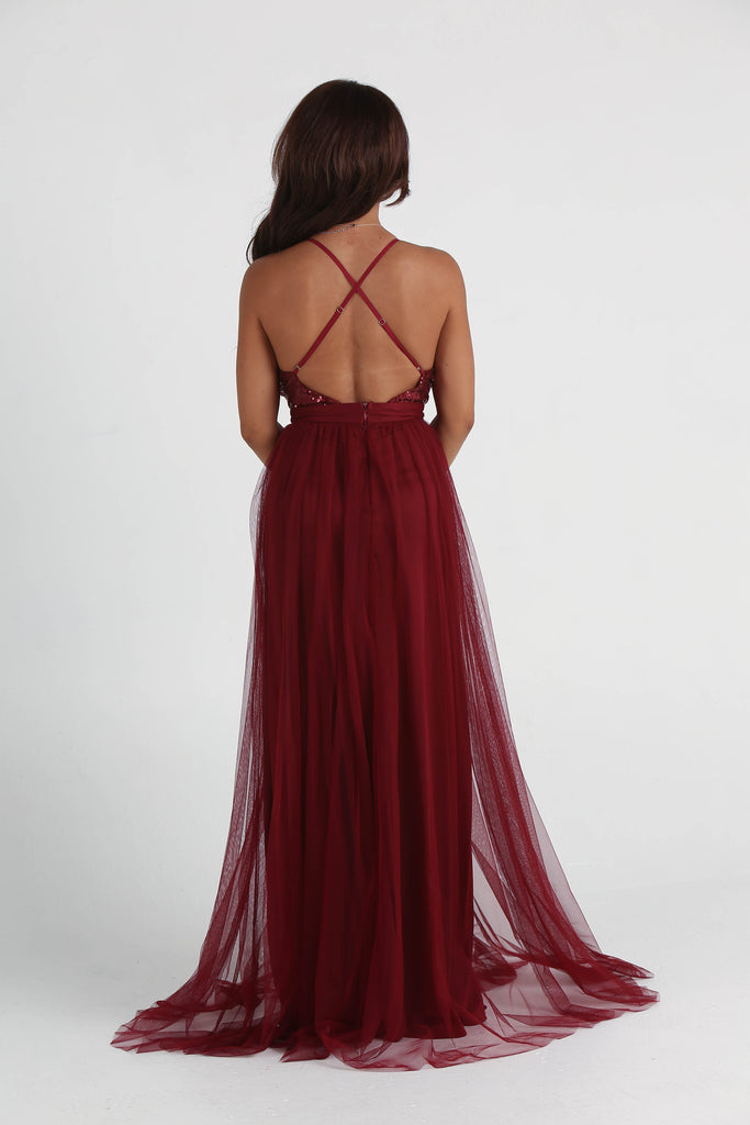 Alexis Wine Tulle Sequin Double High Slit Maxi Dress