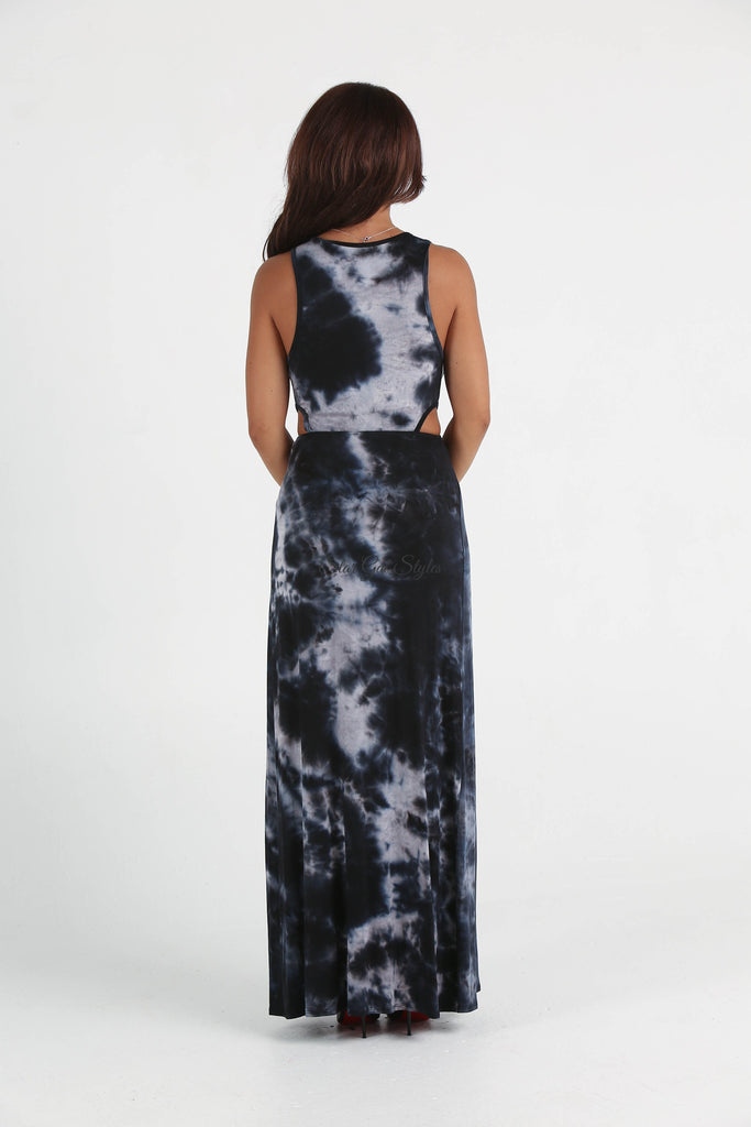 Madison Tie-Dye Cut-Out Side High Slit Maxi Dress