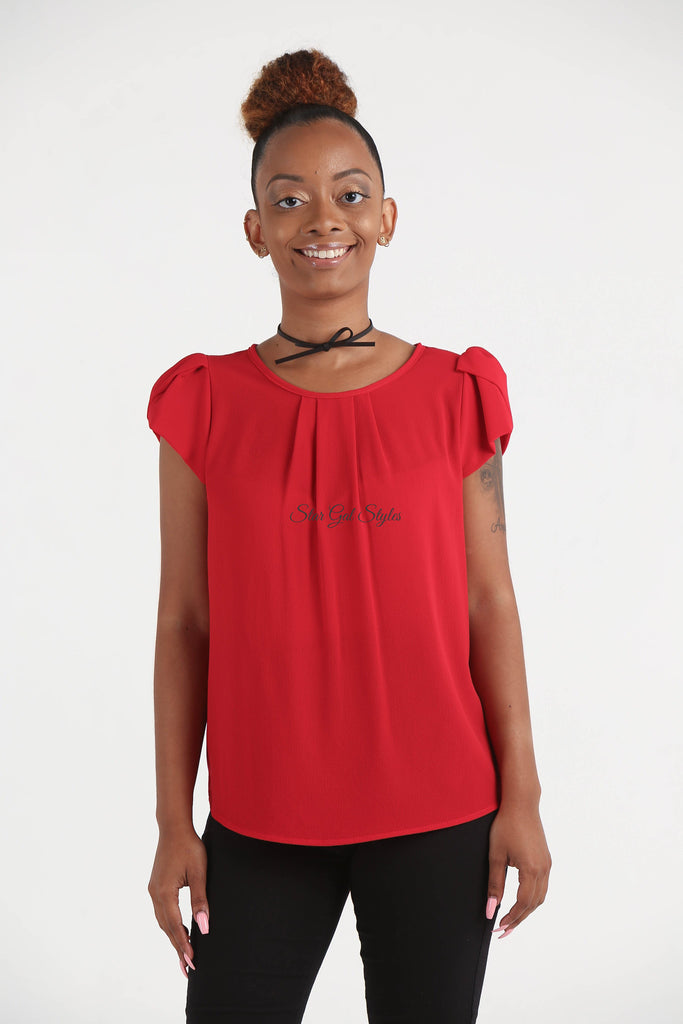 Nellie Red Chiffon Blouse