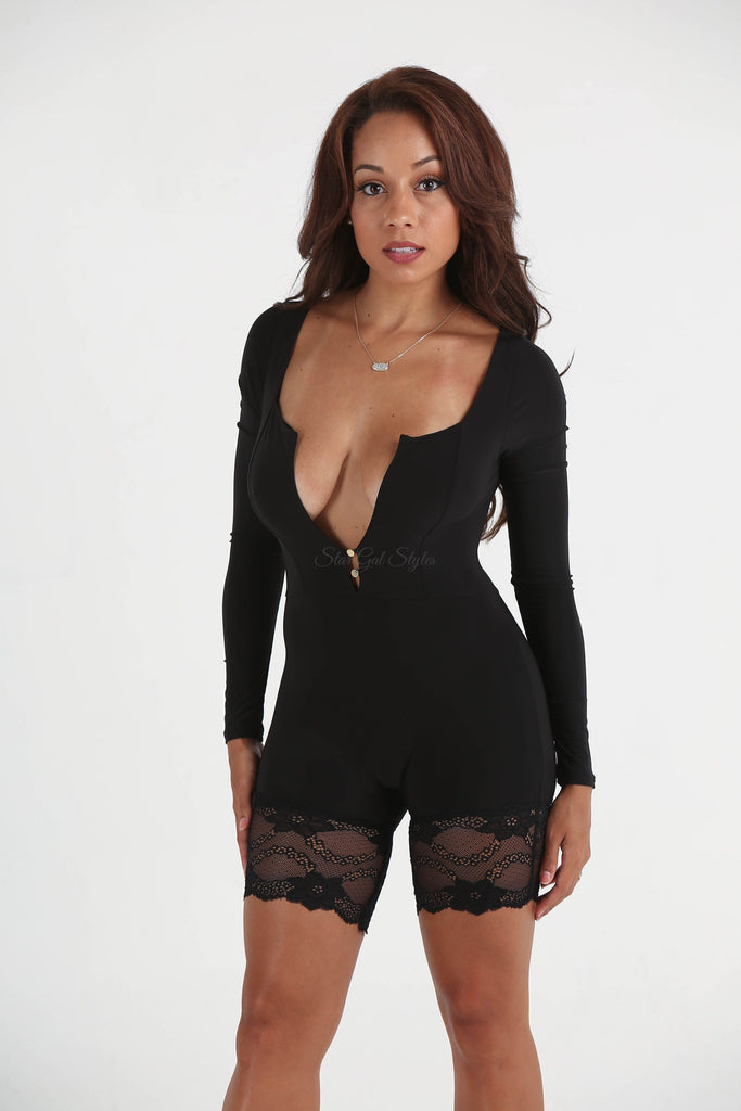 Kendra Black Plunging Neckline Romper - FINAL SALE