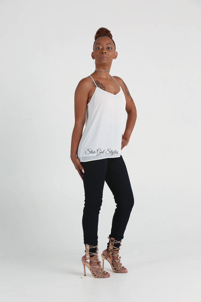 Bree White Sleeveless Chiffon Top