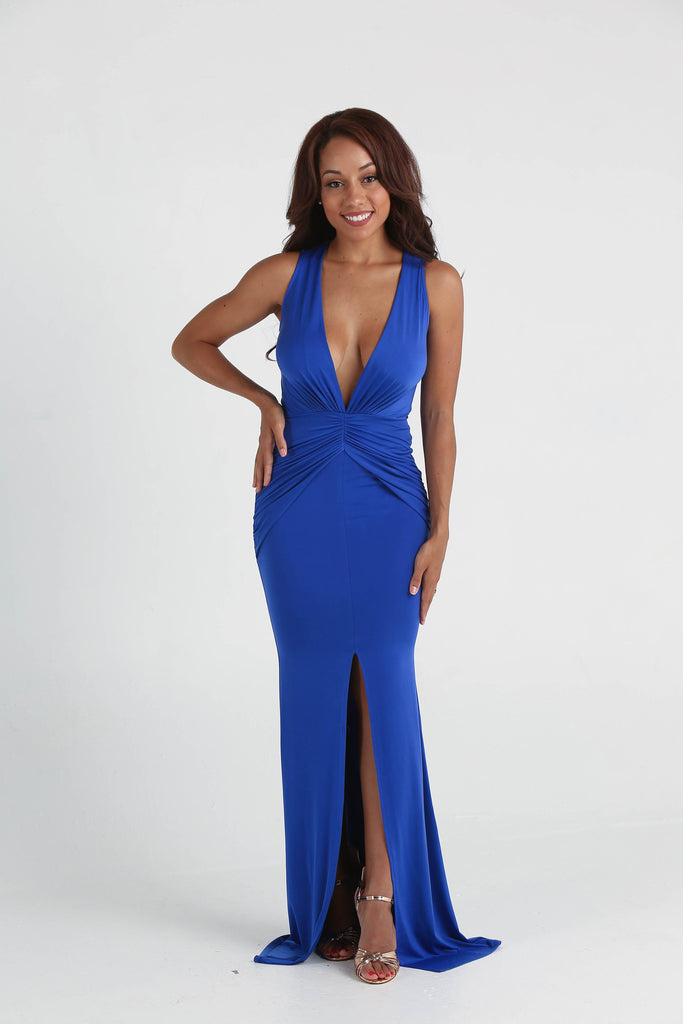 Demi Royal Blue Plunging V-Neck Ruched Maxi Dress