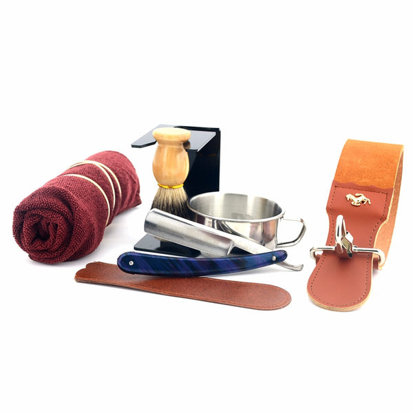 8Pcs Men  Straight Razor Shaving Set - Leather Strop Shaving Bowl Stand Soap Towel And Ring