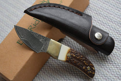 Elk Hunting knife Damascus Steel Blade Brass + Antler handle