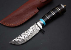 Damascus Steel Fixed Blade Knive Ebony+Ox Horn Handle With Leather Sheath