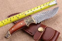 "7"" Damascus Steel Hunting Knife Copper+Wood Handle"