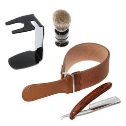 4 in 1 Men's Shaving Straight Razor Set  Razor + Shaving Brush + Brush Stand + Leather Strop