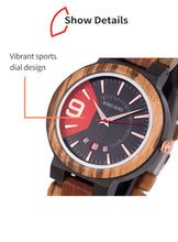 (New Arrival) BOBO BIRD Relogio Masculino Japanese Quartz Wooden Luxury Men Watch With Date Display