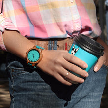 (New Arrival) BOBO BIRD His & Her Relogio Masculino Zebra Wooden Turquoise Blue Watches