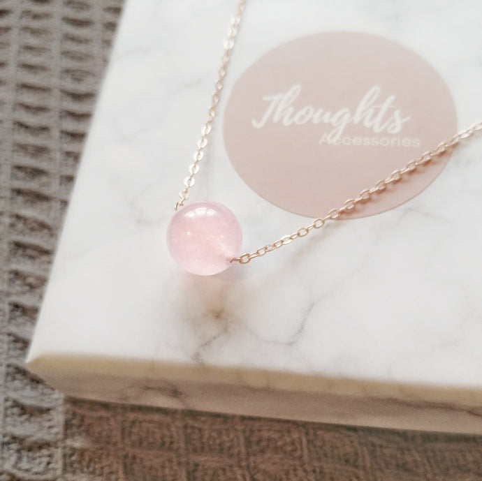 Amour Necklace (Pink Chalcedony), Necklaces - Thoughts Accessories