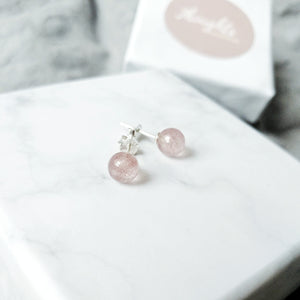 Sweetheart Earrings (Strawberry Quartz), Earrings - Thoughts Accessories