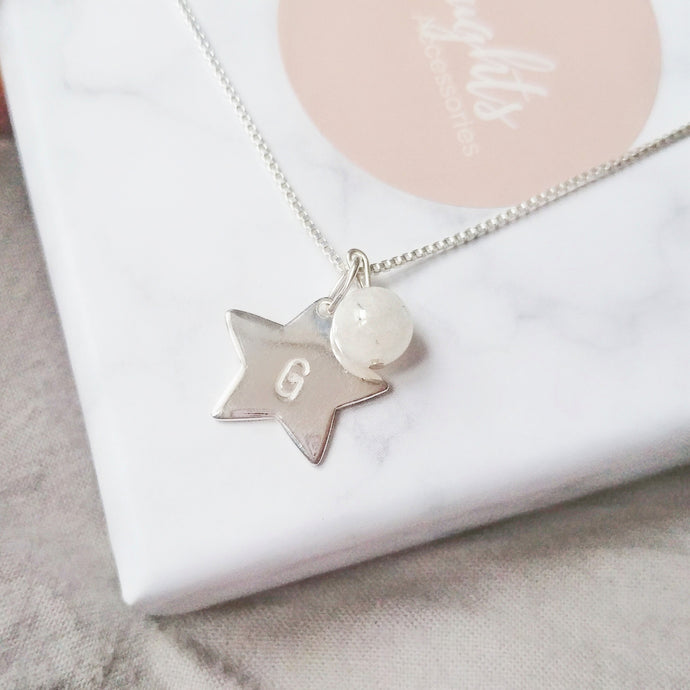 Personalised Hand Stamped Star Pendant Necklace with Natural Gemstone Charm, Necklaces - Thoughts Accessories