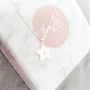 Personalised Hand Stamped Star Pendant Necklace, Necklaces - Thoughts Accessories