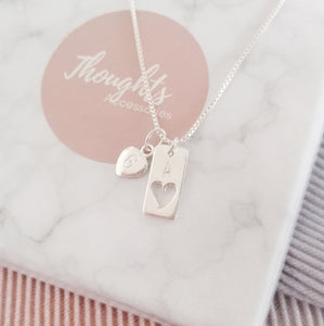 Personalised Hand Stamped Hallowed Heart Tag Pendant Necklace with Personalised Star or Heart Charm, Necklaces - Thoughts Accessories