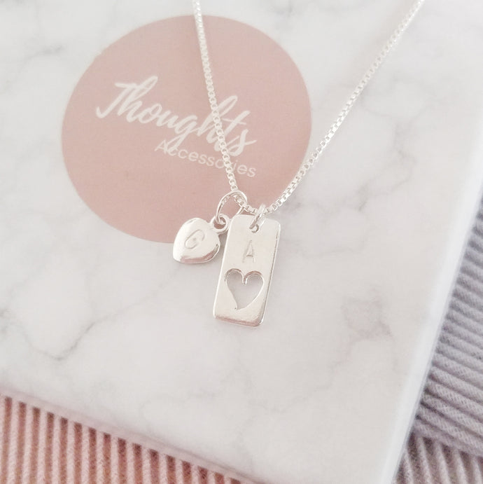 Personalised Hand Stamped Hallowed Heart Tag Pendant Necklace with Personalised Star or Heart Charm - Thoughts Accessories