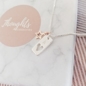 Personalised Hand Stamped Hallow Heart Tag Pendant Necklace with Hallow Star Charm, Necklaces - Thoughts Accessories