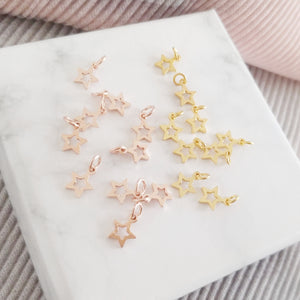Personalised Hand Stamped Star Pendant Necklace with Gold Vermeil or Rose Gold Vermeil Hallow Star Charm, Necklaces - Thoughts Accessories