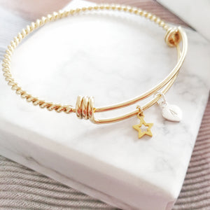 Personalised Hand Stamped Golden Twisted Bangle, Necklaces - Thoughts Accessories