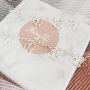 Linked Hearts Mother & Daughter Matching Bracelets, Special Bond Mother & Daughter Matching Bracelets - Thoughts Accessories
