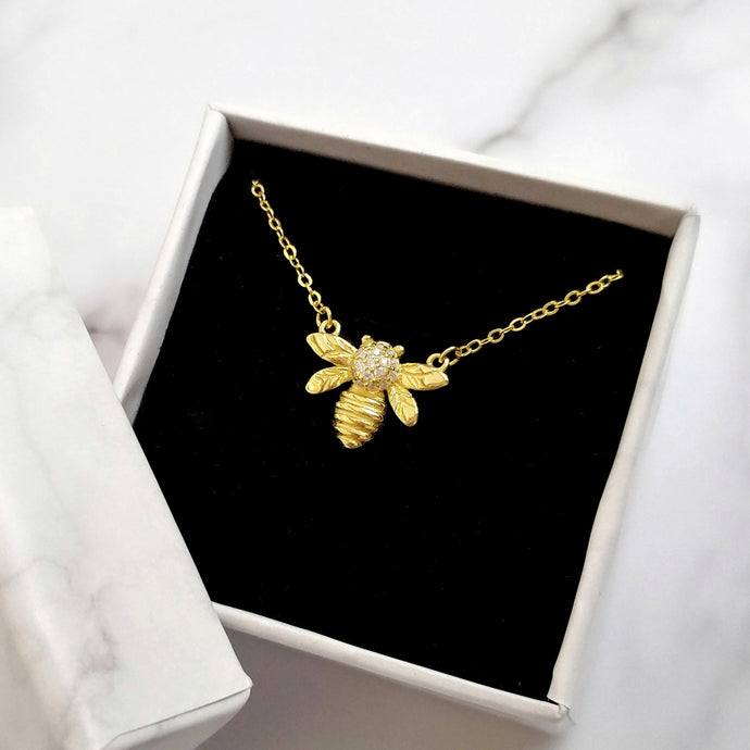 Gold Bee Necklace, Necklaces - Thoughts Accessories