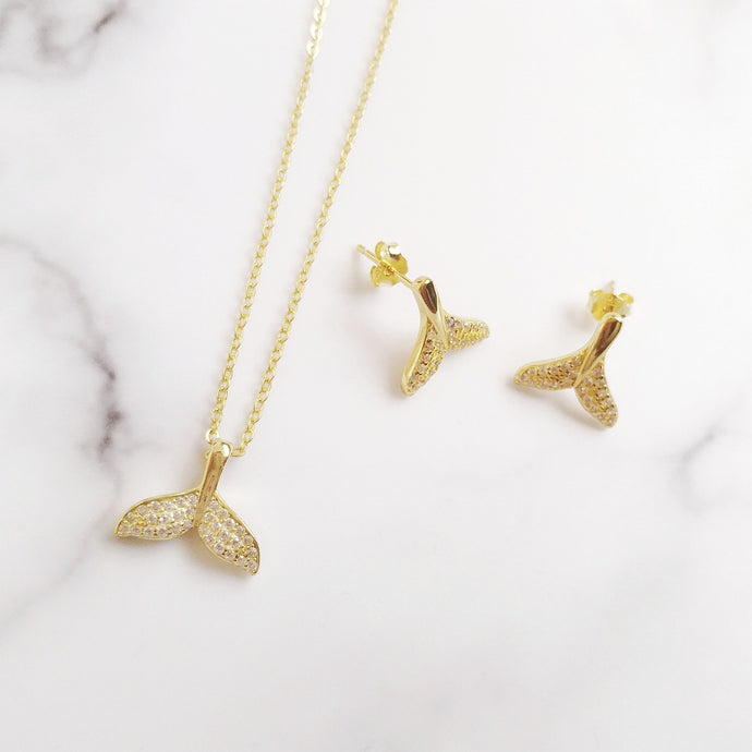 Mermaid Tail Necklace and Earrings Set, Necklaces - Thoughts Accessories