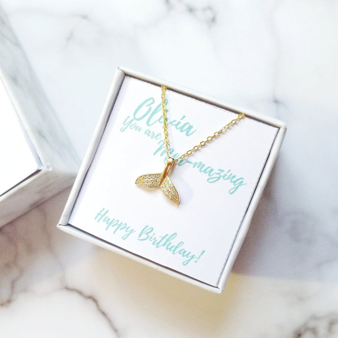 Personalised Birthday Gift Box - Mermaid Tail Necklace - Thoughts Accessories