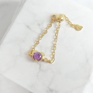Violet Heart Chain Ring,  - Thoughts Accessories