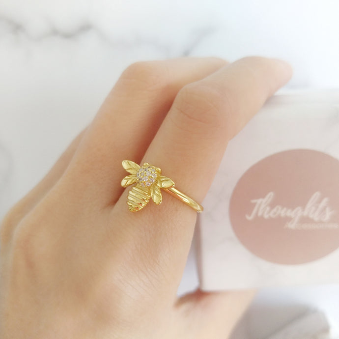 Gold Bee Ring, Rings - Thoughts Accessories