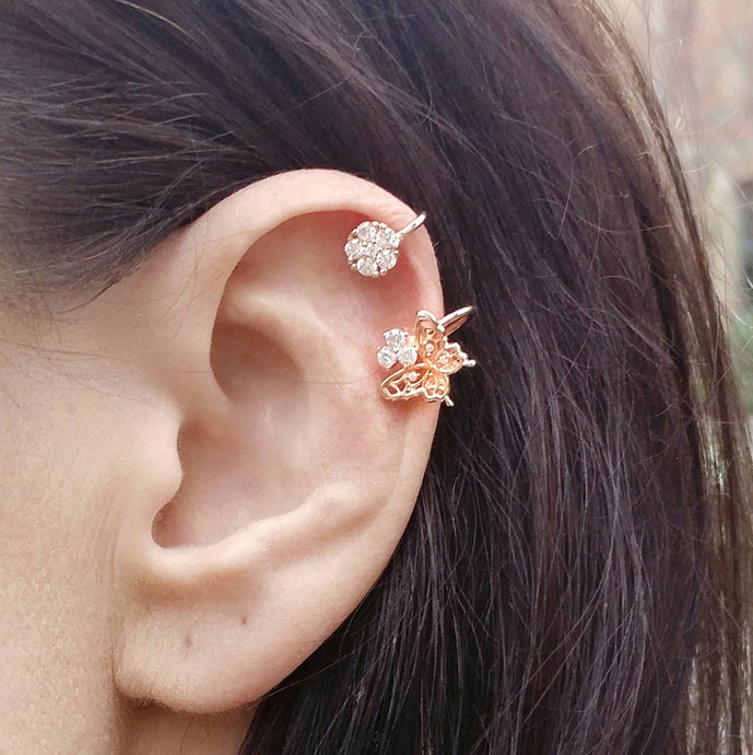Rose Gold Butterfly Ear Cuff (1pc), Earrings - Thoughts Accessories