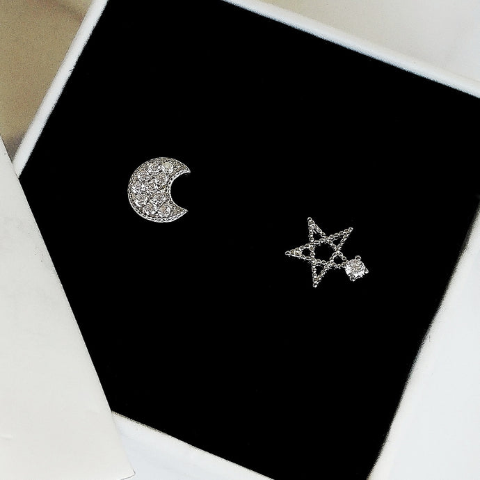 Star and Moon Asymmetrical Earrings, Earrings - Thoughts Accessories