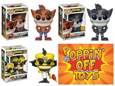 Pop! Gmaes: CRASH BANDICOOT- BUNDLE w/Chase!