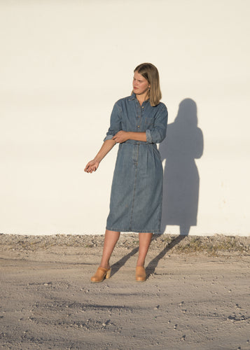 collared denim day dress