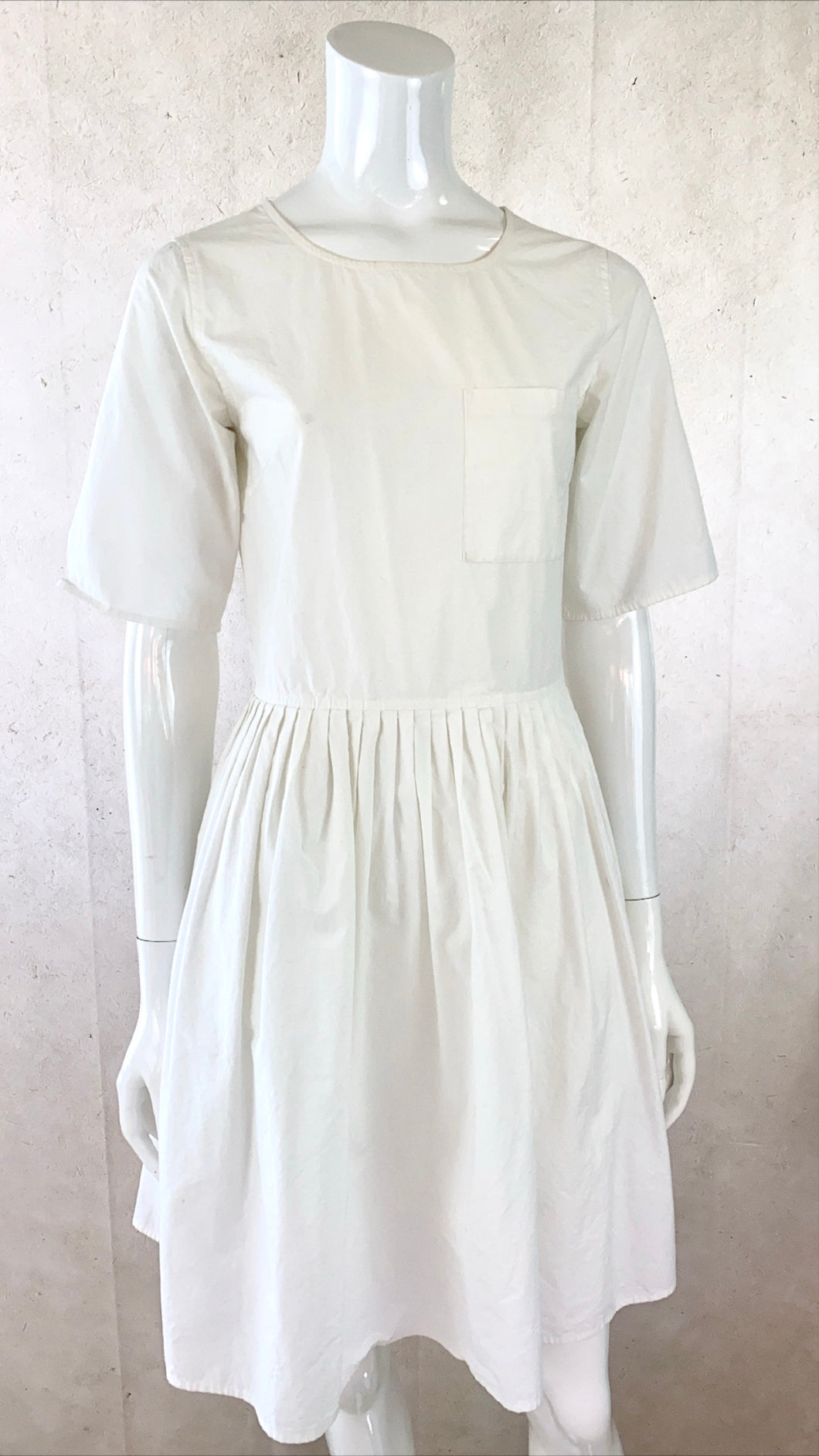 White Pleated Poplin Dress