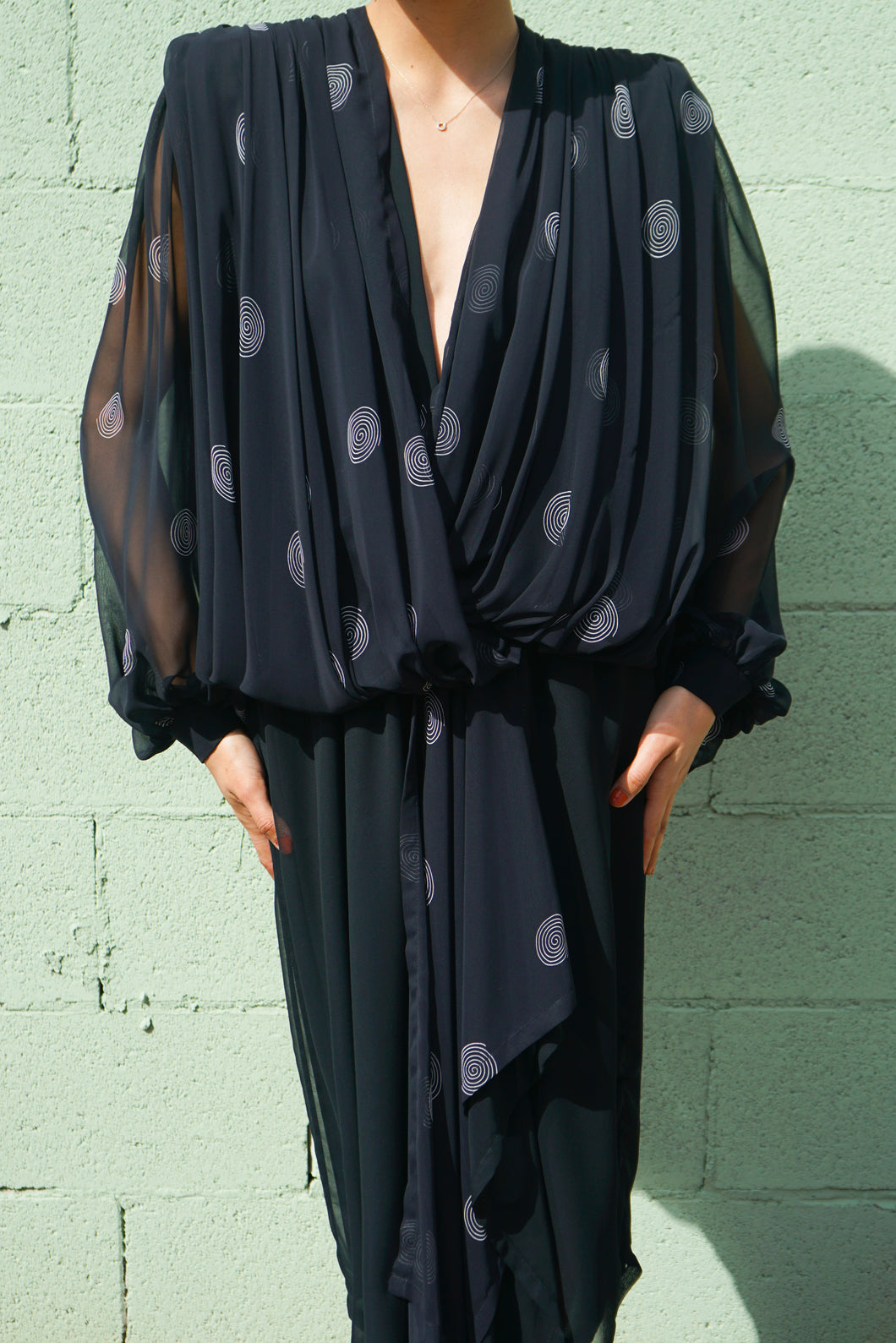 80s Wayne Clark Silk Sheer Dress