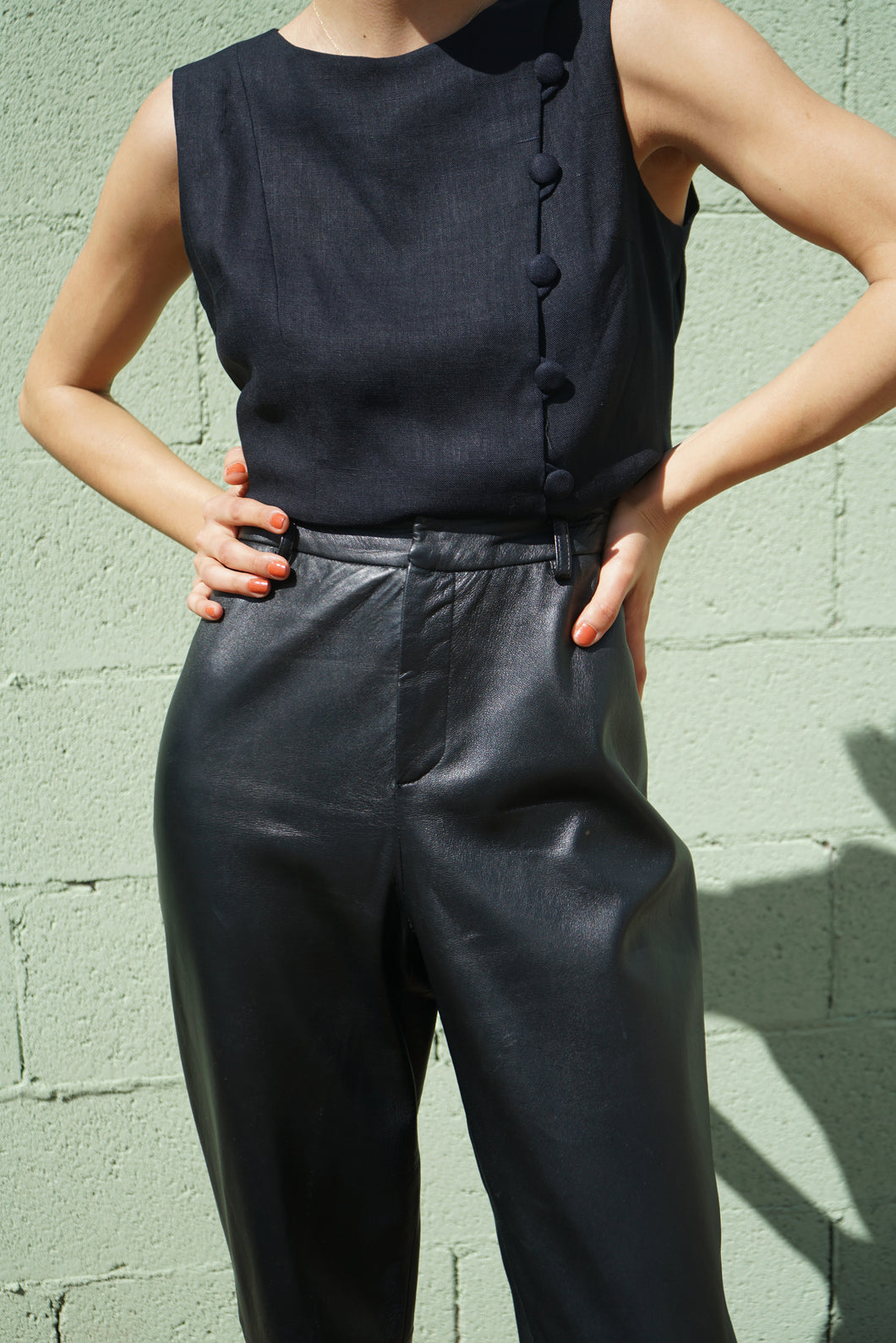 Leather Ellen Tracy x Lined Allord Trousers