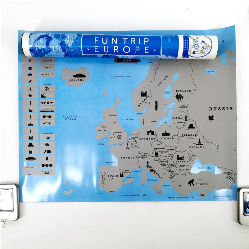 Scratch Off Silver Map - Europe